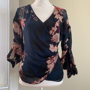NWOT Zara Floral Print Wrap Blouse